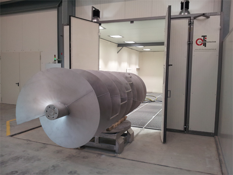 Blasting machine (glass beads) - stainless steel parts to 9.5 m length - for a clean finish